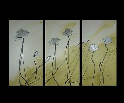 NEW 3 Piece Abstract Poppies Canvas Painting in Lime Green and Silver