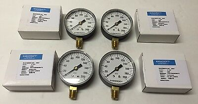 "NEW - Lot of 4 ASHCROFT 2 1/2"" Gauge Model 25W 1005PH 02L"