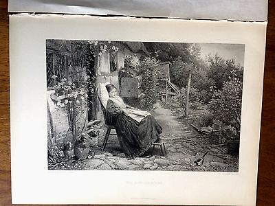 The Convalescent By Birket Foster- Antique Etching Print J S Virtue 1891 Art