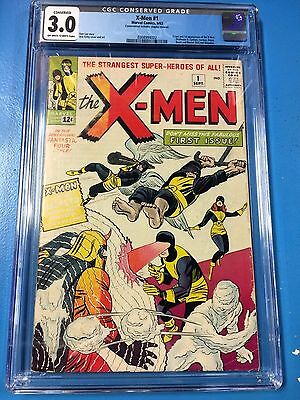 X-Men #1 CGC 3.0 Conserved 1963 OW/W Bargain! Canada Seller Big B Barrie