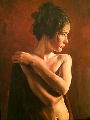 """NEW WILLIAM OXER ORIGINAL CANVAS """"Phryne"""" Pretty Woman Girl Nude OIL PAINTING"""