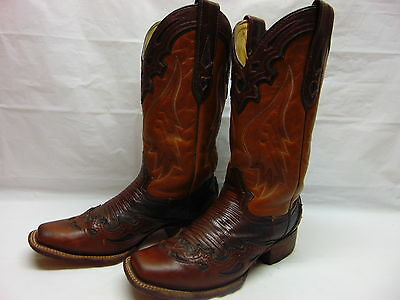Womens 7 M Corral Brown Leather w/ Lizard Wingtips Overlays Western Cowgirl Boot