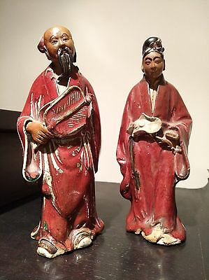 Antique Shiwan or Celadon Chinese Pottery - couple with fan and lotus flower