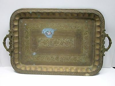 """Antique Solid Brass Etched HANDMADE Large Serving Tray Patina Metal 23"""" x 14.5"""""""