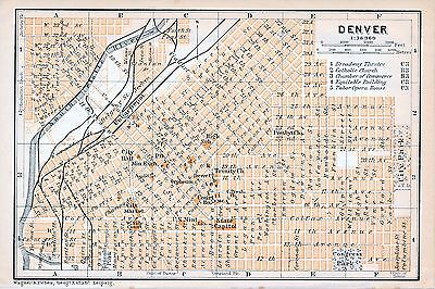 Denver 1909 small orig. city map + guide (2 p) Trinity Ch. Orpheum State Capitol