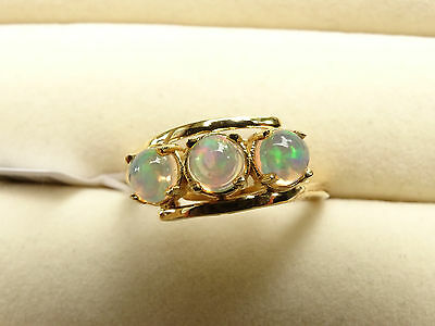Pretty Ethiopian Welo Opal Trilogy Bypass 14K Y Gold/925 Ring Size N
