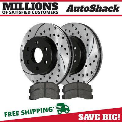 Front Set Drilled Slotted Brake Rotors and Semi Metallic Pads fits Ford Lincoln