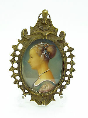Vintage Antique style Brass Framed Portrait of A Lady in Profile