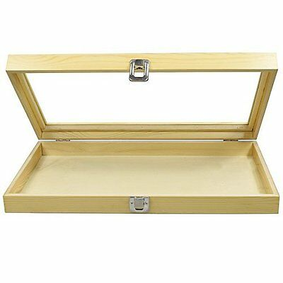 BIG Large Natural Wood TEMPERED Glass Top Lid Metal Clip Jewelry Display Case