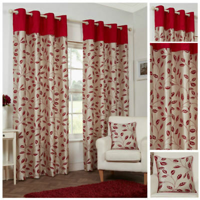 Ready Made Red Curtains Leaf Design Floral Ring Top Eyelet Lined Pair Sizes