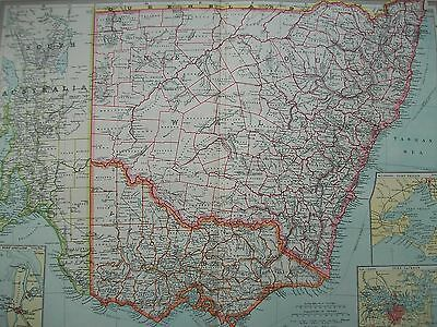 1908 South East Australia New South Wales Victoria Ports Harmsworth Antique Map