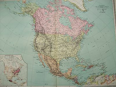 1908 Harmsworth General Map North America & Population Canada United States USA