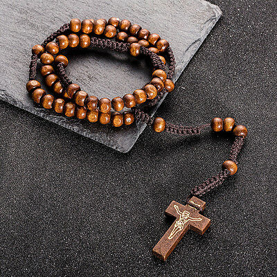 Wood rosary Pray hand woven Beads Wooden Necklace religious jewelry Jesus cross