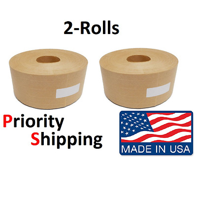 "2 Rolls Central 3"" x 500' Reinforced Gummed Kraft Paper Tape - Water Activated"