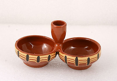 Vintage Folk Art Hand Made Redware Glased Pottery Ceramic SALT &PEPPER SHAKERS '