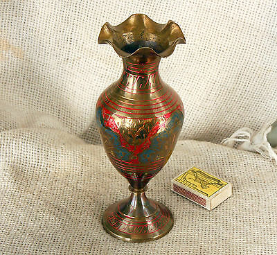 VINTAGE Engraved Painted SOLID BRONZE BRASS VASE 8''