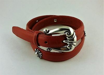 "Brighton Kids Red Leather Concho Belt Silver Girls 25039 L/27"" 1996 NWT"