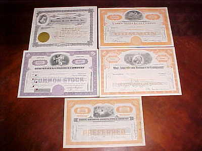 5pc. Lot of early Vintage Stock Certificates with Attractive Vignettes