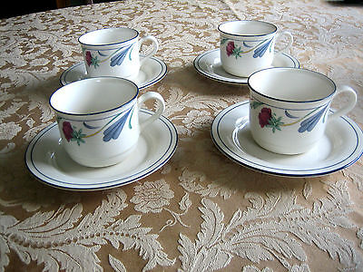 "LENOX Chinastone 'POPPIES ON BLUE"" CUP and SAUCER SETS Lot of 4    MINT"