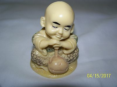 """Unique Hand Painted *young Boy Budda With Bag*  3"""" High 2.1/4"""" Wide"""
