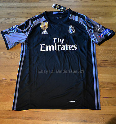 Real Madrid Black 3rd Jersey Ronaldo Sergio Ramos 16/17 FIFA Champions League