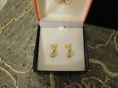 Nice Vintage Disney Mickey Mouse Goldtone Pierced Earrings By Napier Nos