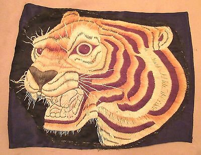 large antique hand embroidered Chinese figural tiger silk needlepoint tapestry