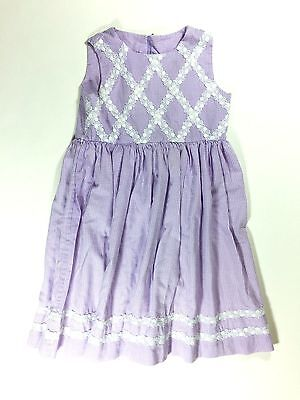Vintage Girls Lavender Purple Gingham Dress White Embroidered Lace Trim