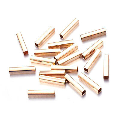 20pcs Gold Tone Brass Cuboid Tube Metal Beads Smooth Loose Spacers Craft 20x4mm