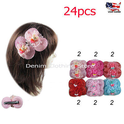 24pcs Baby Girl Kid Lace Bear Grosgrain Ribbon Boutique Hair Alligator Clip Lots