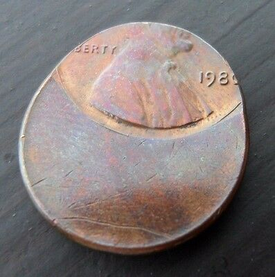 1980 Lincoln Cent struck off center mint strike error copper coin free shipping