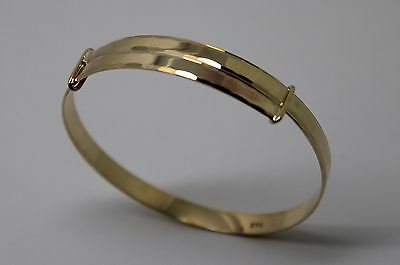 9ct YELLOW gold 3.9mm Adjustable CHILD / BABY CHILD'S bangle *Free Express Post