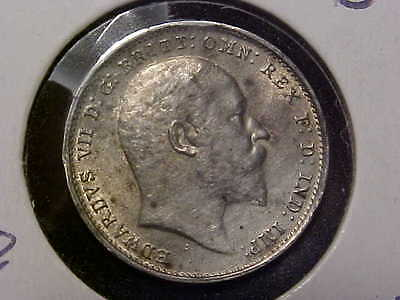1909 Great Britain 3 Pence AU+++ Detail