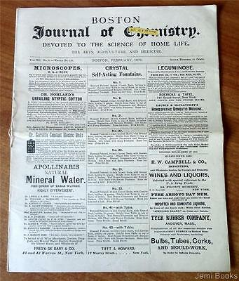 Boston Journal Of Chemistry February 1878 Homeopathy Medical Herb Recipes Good