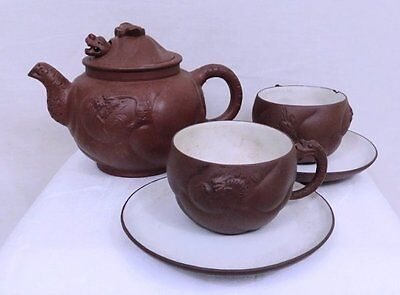 Vintage Chinese Yixing Zisha Clay Dragon Teapot w/cups saucers Signed
