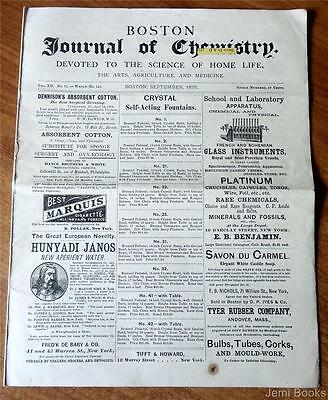 Boston Journal Of Chemistry Sept 1878 Homeopathic Herb Uses Medicine Agriculture