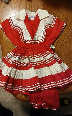 Girls Vintage Dress Santa Fe Fiesta Dress and Bloomers Size 3-4