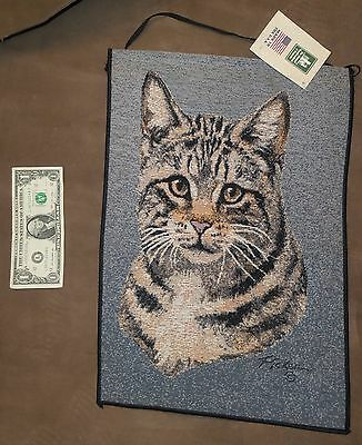 Tabby Cat Tapestry Bannerette by Linda Pickens