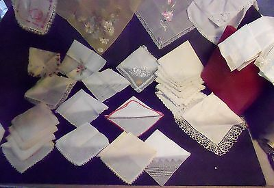 Large Lot 29 Antique & Vintage Hankies Some Orig Tags Box Christmas Embroidered