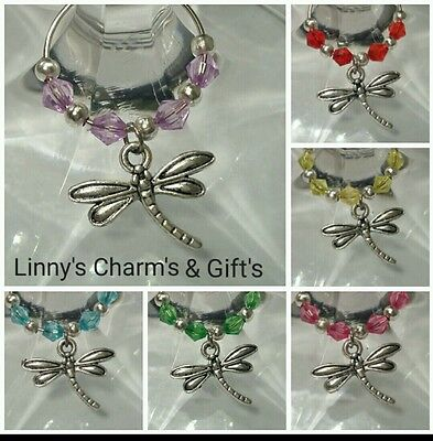 Cute Silver Dragonfly Wine Glass Charms x 6 / Stem Jewelry All Occasion Gift