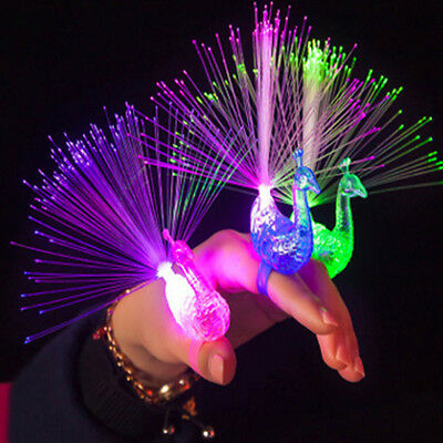 LED Flashing Peacock Finger Lamp Finger Ring Night Lights Club Party Supplies