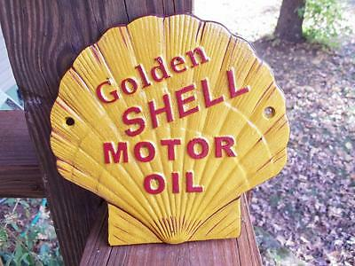 Cast Iron Golden Shell Motor Oil Sign Gas Station Advertising Sign Petro Sign