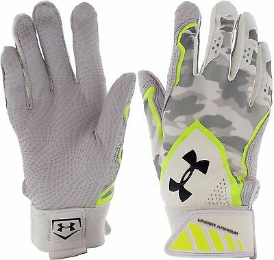 Under Armour Mens Yard Undeniable Baseball Batting Gloves,Camo/Volt/Gray, Size S
