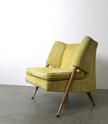 Vintage Italian Style Mid Century Modern Wood & Brass Lounge Chair Yellow Velvet