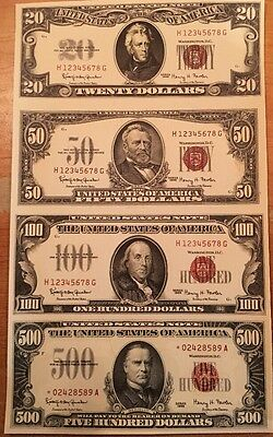 Copy Reproduction 1966 Red Seal $20-$500 Uncut US Currency Sheet Paper Money