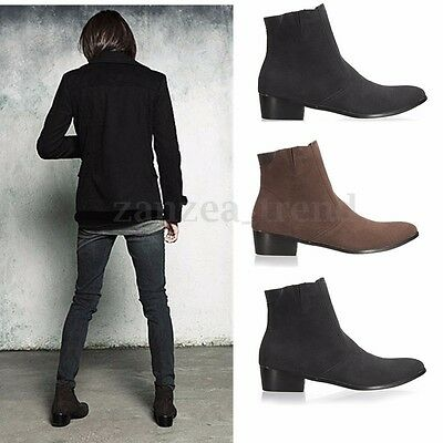 Men's Italian Style Suede Lined Chelsea Ankle Pointed Toe Boots UK Sizes 8-10