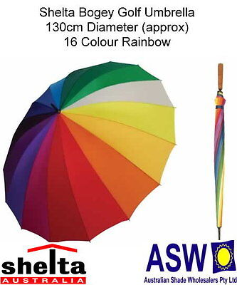 RAINBOW GOLF UMBRELLA Shelta Bogey Rain 16 Colours 16 Ribs RU-SHGR