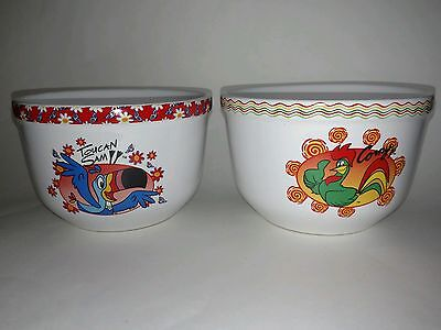 2004 Kellogg Ceramic Cereal Bowls TOUCAN SAM and CORNY Rooster Houston Harvest