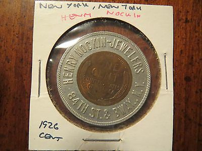 Vintage Encased Coin Good Luck Penny 1926 HENRY NOCKIN JEWELERS New York, NY