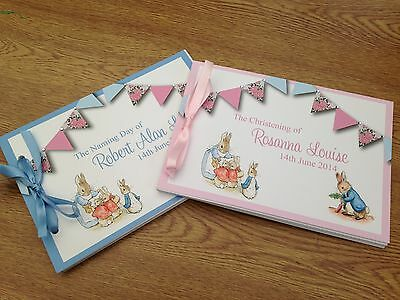 Peter Rabbit Personalised Guest Book Birthday Christening Boy Girl Naming Day D7